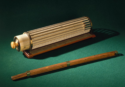 Bisaker's slide rule, 1654, and Thacher's calculating instrument, 1881.