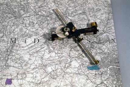 Coradi planimeter and map, 1886.