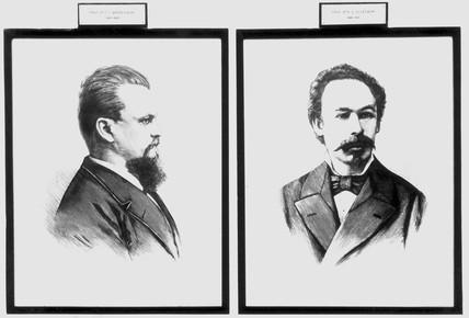 Prof K S Olszewski and Prof Z F Wroblewski, Polish chemists, c 1880.