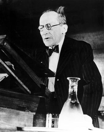 Erwin Schrodinger, Austrian physicist, delivering a lecture, 1956.