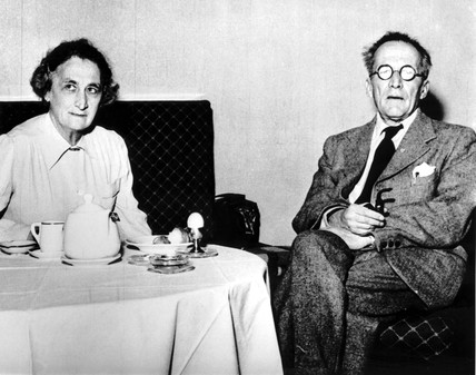 Erwin Schrodinger, Austrian physicist, and his wife having breakfast, 1956.