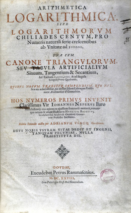 Title page of a book of logarithmic tables by Napier, 1628.
