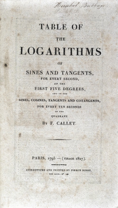 Title page of a book of logarithmic tables by Callet, 1795.