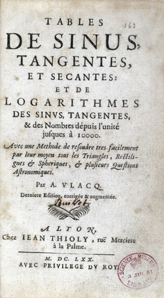 Title page of a book of logarithmic tables by Vlacq, 1670.