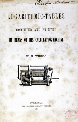 Title page, book of logarithmic tables by Wiberg, 1876.