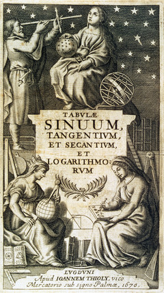 Frontispiece of Vlacq's logarithmic tables, 1670.