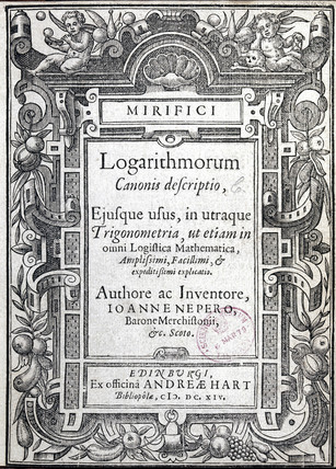 Title page from a book of logarithmic tables by Napier, 1614.