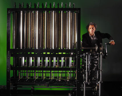 Doron Swade operating Babbage's Difference Engine No 2.