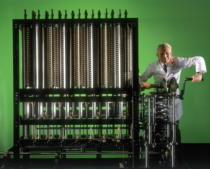 Reg Crick operating Babbage's Difference Engine No 2.