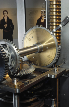 The handle wheel of Babbage's Difference Engine No 2, 1991.