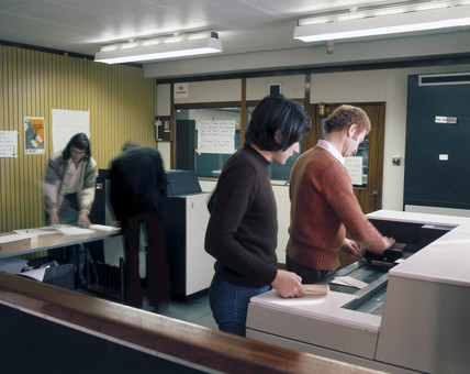 Batch reception room at Imperial College, London, 1975.