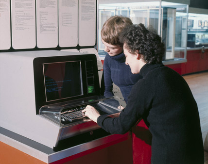Science Museum terminal connected to Imperial College computer, 1975.
