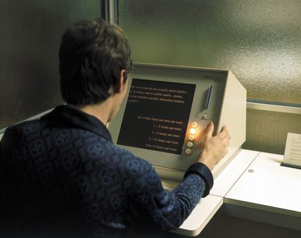 Computer terminal at a BUPA medical centre, 1975.