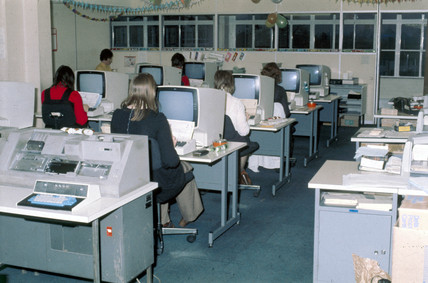 Data preparation at Mothercare, 1975.