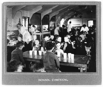 School canteen, 1940s. Children eating scho