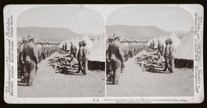 Announcing findings of a Court Martial at Slingersfontein, South Africa', 1900.