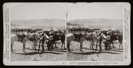 'Australian Mounted Rifles after skirmish at Modder River, South Africa', 1900.