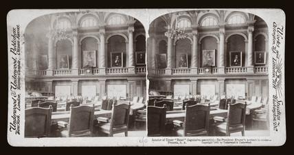'Interior of Upper 'Raad' (legislative asembly), Pretoria, South Africa', 1901.
