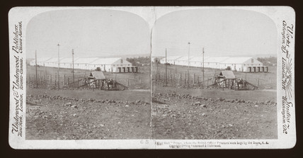 'A 'Mud Hall' Prison, where British Officer Prisoners were kept, South Africa', 1900.