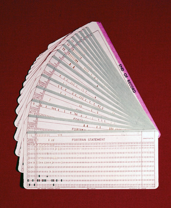 Punched cards in a fan-shape, 1960-1980.