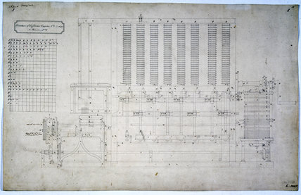 Drawing of the side view of Difference Engine No 2, 19th century.