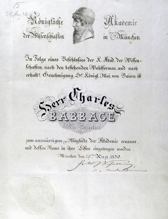 Honorary diploma awarded to Charles Babbage, 1830.