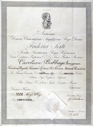 Honorary diploma awarded to Charles Babbage, 1829.