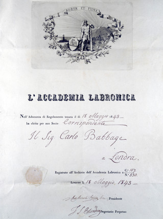 Diploma from L'Accademia Labronica, 1843.