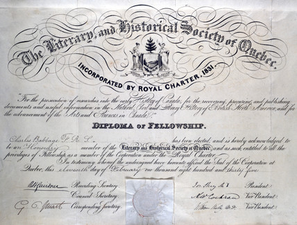 Diploma from the Literary and Historical Society of Quebec, 1835.
