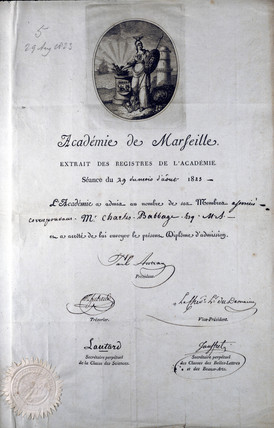 Diploma from the Academie de Marseilles, 1823.