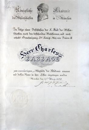 Diploma from Konigliche Akademie der Wisenschaften Munchen, 19th century.