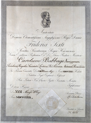 Diploma from Societas Scienterum Regia Havniensis, 19th century.