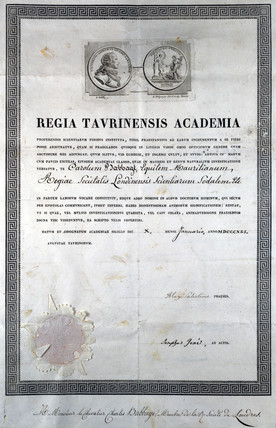 Diploma from the Regia Taurinensis Academia, 19th century.