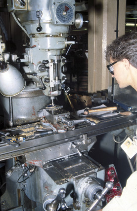 Constructing the test piece for the Difference Engine No 2, 1990.