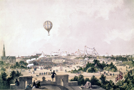 A hot-air balloon over Fancy Fair, Princes Park, Liverpool, August 1849.
