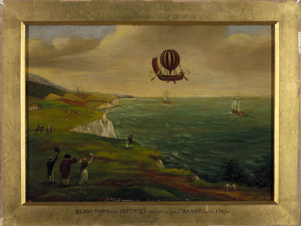 'Blanchard and Jeffries crosing the Channel', c 1785.