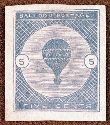 An American 'Buffalo' balloon postage stamp, 1877.