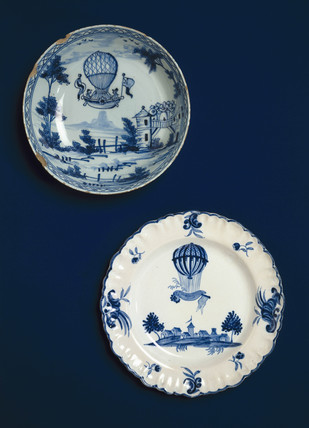 Ballooning scenes on bowl and plate, late-eighteenth century (Science Museum / Science & Society)