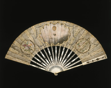 A ballooning scene on a fan, late 18th century.