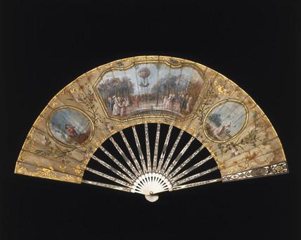 A ballooning scene on a fan, c 1783.