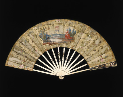 A ballooning scene on a fan, c 1783.