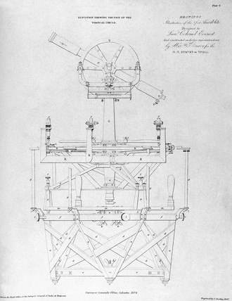 Everest's three-foot theodolite made for the Survey of India, 1825-1830.