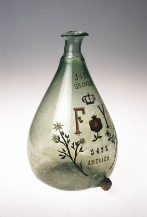 Commemorative glas flask, Spanish, c 1592-1800.