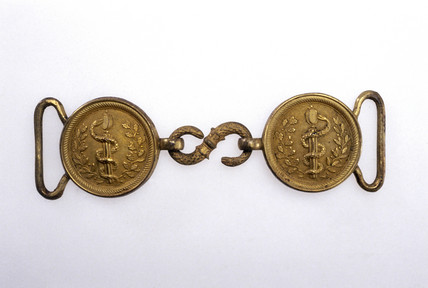 Military doctor's belt buckle, French, 1830-1890.