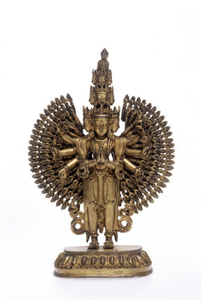 Bronze gilt statue of Avalokitesvara, Nepalese, 1771-1830.