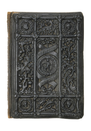 Rectangular carton pierre book cover, mid 19th century.