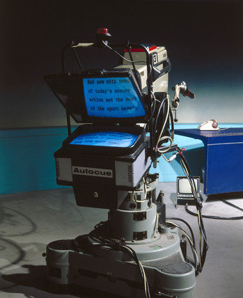 Autocue equipment, 1986.