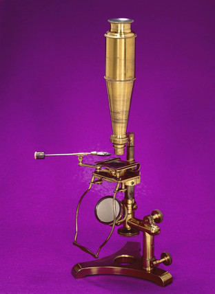 Varley stirrup lever type microscope, c 1850.