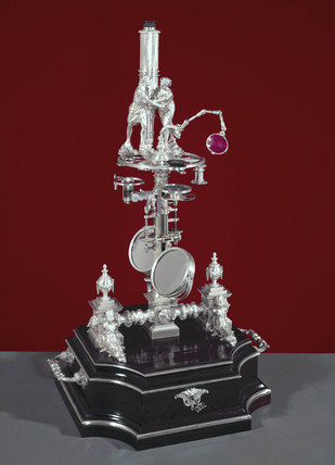 'New Universal' silver microscope by George Adams, 1761.