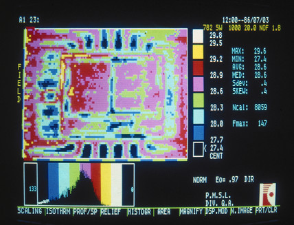 Thermal image of an electronic circuit, c 1980s.